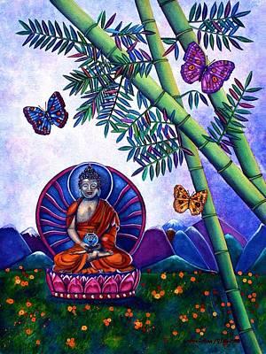 Religious Art Mixed Media - Happy Buddha And Prosperity Bamboo by Lori Miller