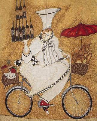 Happy Chef On The Bike Print by Vesna Antic