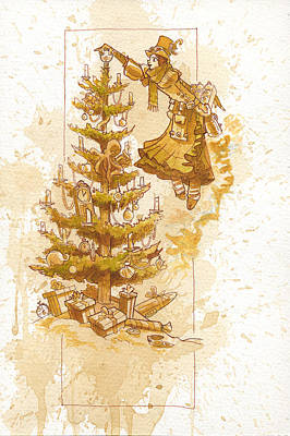 Happy Christmas Print by Brian Kesinger