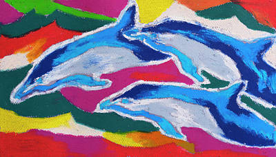 Fish Underwater Painting - Happy Dolphin Dance by Stephen Anderson
