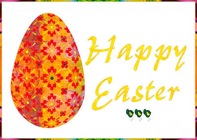 Drawing - Happy Easter Abstract Greeting Card Art By Omaste Witkowski  by Omaste Witkowski
