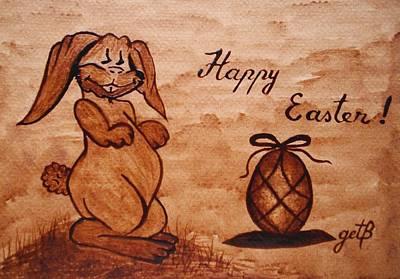 Happy Easter Coffee Painting Print by Georgeta  Blanaru