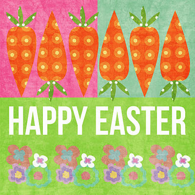 Carrot Mixed Media - Happy Easter by Linda Woods