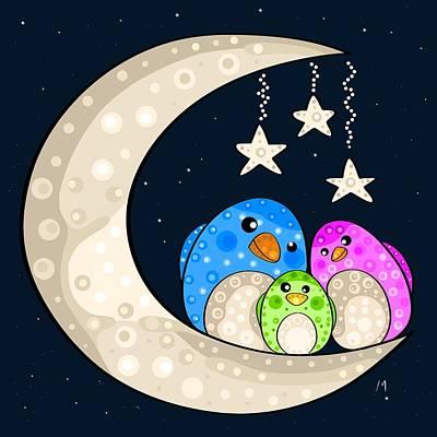 Moon Light Painting - Happy Family by Veronica Minozzi