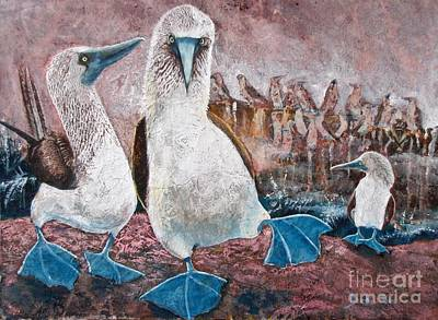 Boobies Mixed Media - Happy Feet by Debi Bond