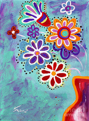 Summer Painting - Happy Flowers - Art By Valentina Miletic by Valentina Miletic
