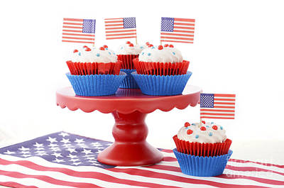 Happy Fourth Of July Cupcakes On Red Stand Print by Milleflore Images