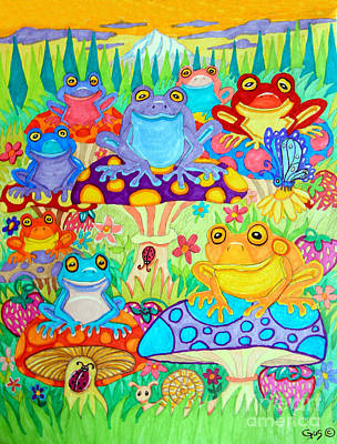 Amphibians Drawing - Happy Frogs In Mushroom Valley by Nick Gustafson