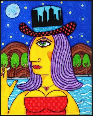 Harlem Ny Painting - Happy Girl Smoking In The Harlem River by YOLARTE Yolanda Ortiz