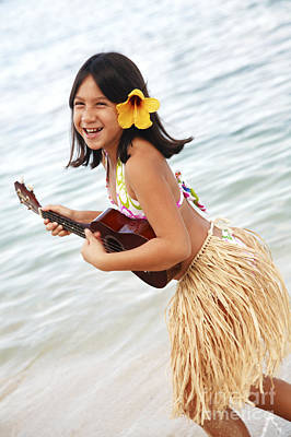 Hula Girl Art Photograph - Happy Girl With Ukulele by Brandon Tabiolo - Printscapes