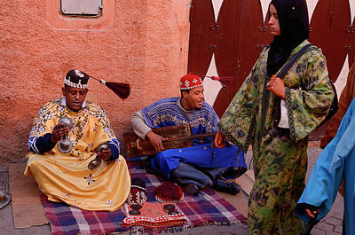 Morocco Photograph - Happy Gnawa Street Musicians In Marrakech Swinging Their Tarboos by Reimar Gaertner