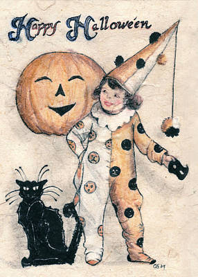 Halloween Cards Drawing - Happy Hallowe'en  by Carrie Jackson