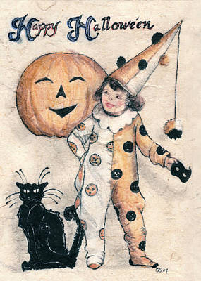 Halloween Card Drawing - Happy Hallowe'en  by Carrie Jackson