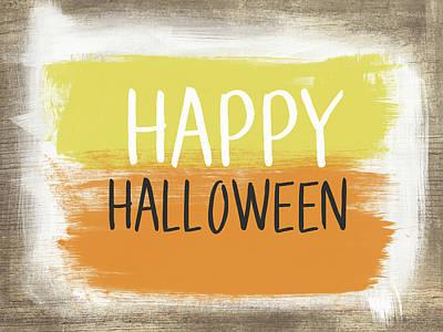 Happy Halloween Sign- Art By Linda Woods Print by Linda Woods