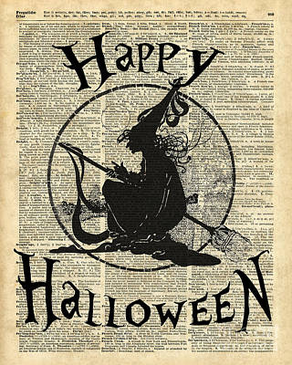 Happy Halloween Witch With Broom Dictionary Artwork Print by Jacob Kuch
