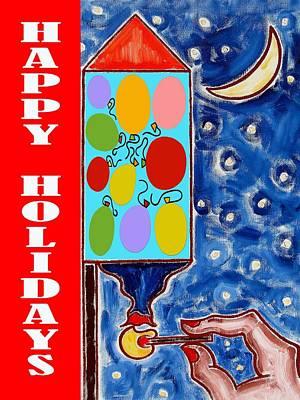 Fireworks Mixed Media - Happy Holidays 59 by Patrick J Murphy