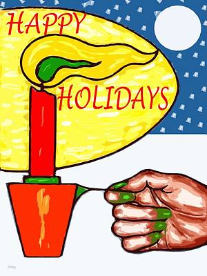 Candle Lit Mixed Media - Happy Holidays 72 by Patrick J Murphy