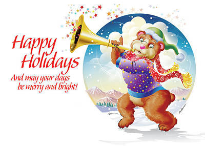 Happy Holidays Bear  Original by Ned Levine