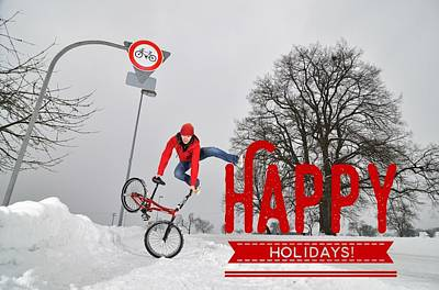 Christmas Photograph - Happy Holidays Bmx Flatland Jump by Matthias Hauser