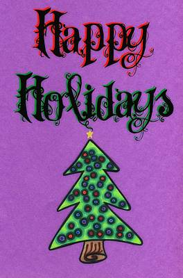 Happy Holidays Purple Print by Mandy Shupp
