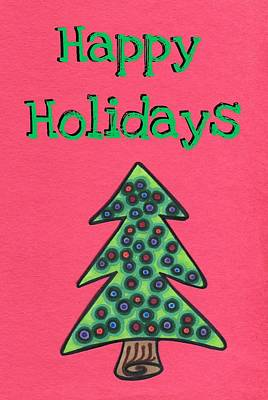 Happy Holidays Red Print by Mandy Shupp