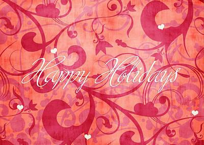 Peach Drawing - Happy Holidays Swirly Background by Maggie Terlecki