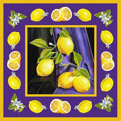 Dining Room Italian Painting - Happy Lemons Dance by Irina Sztukowski