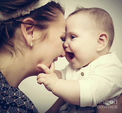 Happy Moments. Mother Holding And Playing With Her Baby. Vintage Print by Michal Bednarek