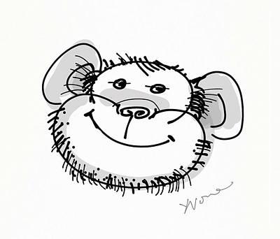 Happy Monkey Print by Yvonne Wright