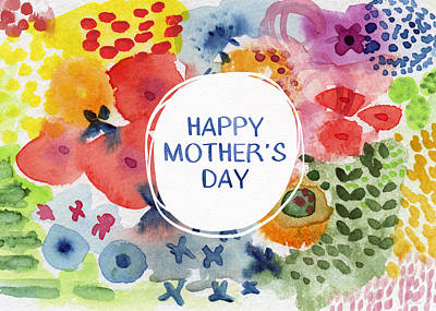 Happy Mothers Day Watercolor Garden- Art By Linda Woods Print by Linda Woods