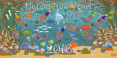 Happy New Year  2016 Print by Merry Kohn Buvia