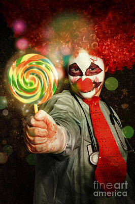 Clown Photograph - Happy Party Clown With Lollies At Circus Carnival by Jorgo Photography - Wall Art Gallery