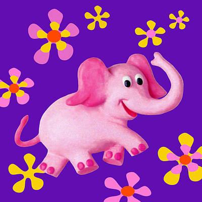 Elephant Mixed Media - Happy Pink Elephant by Amy Vangsgard