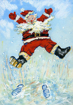 Winter Fun Painting - Happy Santa  by David Cooke