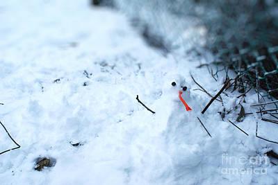 Happy Snow Man Print by Sun Wu