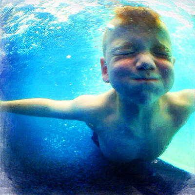 Happy Under Water Pool Boy Square Original by Tony Rubino
