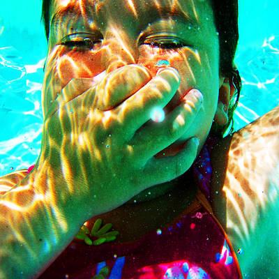 Happy Under Water Pool Girl Square Original by Tony Rubino