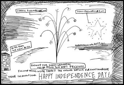 Debt Drawing - Happy U.s. In Dependence Day by Yasha Harari