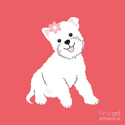 Westie Digital Art - Happy Westie by Natalie Kinnear