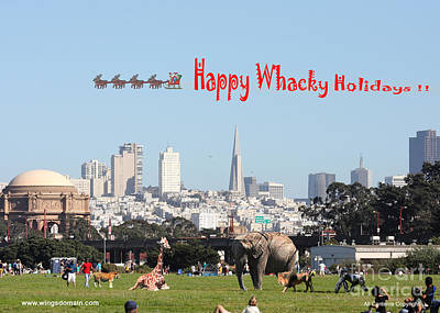 Happy Whacky Holidays Print by Wingsdomain Art and Photography