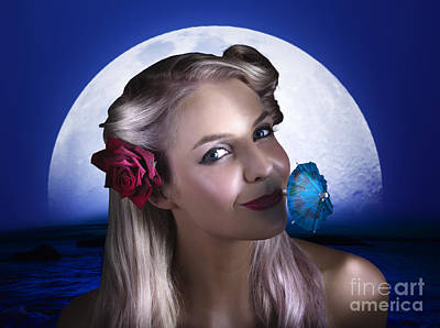 Happy Woman At Moon Light Beach Party Print by Jorgo Photography - Wall Art Gallery