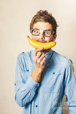 Cheers Photograph - Happy Worker Smiling With Banana by Jorgo Photography - Wall Art Gallery