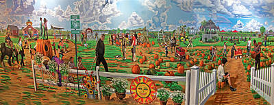 Picking Pumpkins Painting - Harbe's Family Farm by Bonnie Siracusa