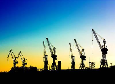 Crane Mixed Media - Harbor Cranes by Boyan Dimitrov