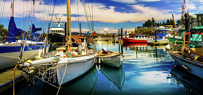 Harbor On Guemes Channel Print by TL  Mair
