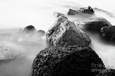 Harbor Rocks And Misty Ocean II Print by Charmian Vistaunet