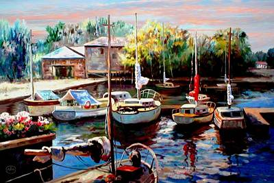 Harbor Sailboats At Rest Print by Ronald Chambers