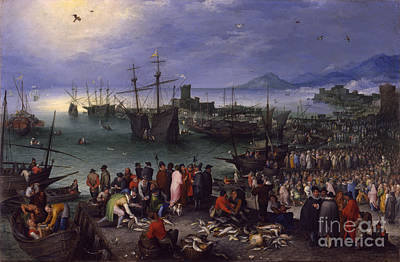 1596 Painting - Harbor Scene With St. Paul's Departure From Caesarea by Celestial Images