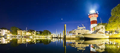 Harbor Town Yacht Basin Light House Hilton Head South Carolina Print by Dustin K Ryan