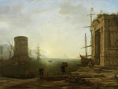 Morning Painting - Harbour At Sunrise by Claude Lorrain